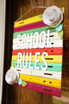 Create a fun back to school sign with vintage rulers and your Cricut machine!