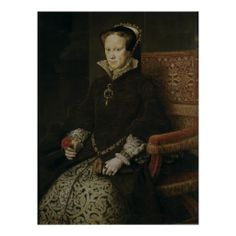 """Portrait of Queen Mary I Tudor by Antonio Moro (Anthonis Mor), The Prado. Mary was the daughter of Henry VIII and Catherine of Aragon. Remembered as """"Bloody Mary"""" Queen Mary Tudor, Marie Tudor, Dinastia Tudor, Mary I Of England, Queen Of England, Elizabeth I, Tudor History, British History, Katharina Von Aragon"""