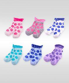 Love this Naartjie Kids Pink & Blue Polka Dot Roll-Top Socks Set by Naartjie Kids on #zulily! #zulilyfinds