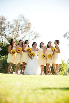 Yellow Bouquet Country Club Fall Sunflower Wedding Flowers Photos & Pictures - WeddingWire.com