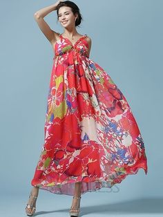 Ericdress Plage Spghetti Strap Imprimer Maxi Dress Robe maxi