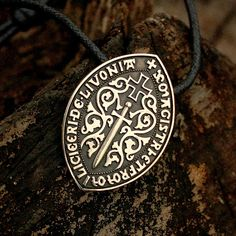 Bronze Livonian Brothers of the Sword Seal Teutonic Order Cross Pendant Necklace