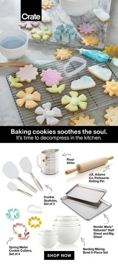 You deserve a fun sweet treat! These baking tools will help you make the perfect spring-shaped cookie with minimal cleanup. #cookies #bakingathome #bakingtools #bakingcookies #cookiesheet #sweettreat #dessert