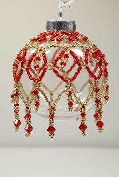 119. Beaded Ornament Cover by BeadingWolves on Etsy https://www.etsy.com/listing/252828018/119-beaded-ornament-cover