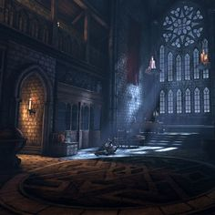 Gothic Interior, Angelo Person on ArtStation at https://www.artstation.com/artwork/exy2X: