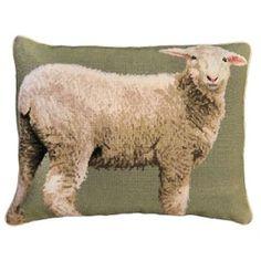 Lamb Needlepoint Pillow