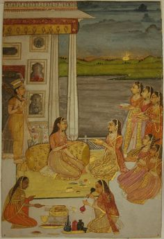www.IndianMiniaturePaintings.co.uk - Indian miniature painting: On a palace terrace at sunset a princess is entertained by musicians and receiving food, wine and gifts . Awadh, circa 1780-90. Opaque watercolur with gold on wasli. 21.3 x 13.9cm