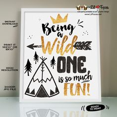 Wild one First Birthday Party Welcome sign Black and Gold Crown Wild One