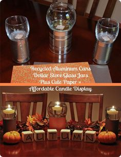 Fall themed glass candle sitting on paper-decorated tin cans. Cheap Candles, Cute Candles, Fall Candles, Fall Crafts, Holiday Crafts, Holiday Fun, Diy And Crafts, Holiday Ideas, Glitter Jars