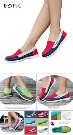 98a571faf59c EOFK Women Canvas shoes Woman Ladies Casual shoes Lady loafers Women s Flats  Slip On Shoes tenis