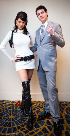 DIY Couples Halloween Costume Ideas - Archer and Lana Cosplay Couples Costume Idea via Fashionably Geek