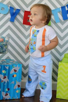Nemo Tie and Suspender Bodysuit Baby Boy -First Birthday Party Little Man Tie Outfit, Birthday Photo Prop on Etsy, $19.00