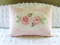 TWO ROSES vintage chenille bed pillow sham