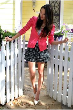 hot pink cardigan with black/white polka dot dress