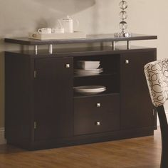 Libby Transitional Cappuccino Wood Drawers Server