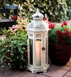 All-Weather White Wood and Metal Flameless Candle Lantern