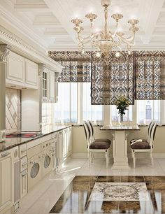 Awesome luxury house interior design and decor Home Decor Kitchen, Interior Design Kitchen, Home Design, Design Design, Rideaux Design, Kitchen Window Treatments, Luxury Homes Interior, Luxury Kitchens, Beautiful Kitchens