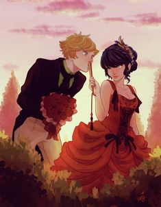 Check out this collating of Miraculous Ladybug fanart with Ladybug / Marinette and Chat Noir / Adrien in this beautiful ball outfits. Ladybug E Catnoir, Ladybug Und Cat Noir, Ladybug Comics, Black Ladybug, Ladybug Cakes, Ladybug Garden, Miraculous Ladybug Miraculous, Miraculous Ladybug Fanfiction, Cat Noir Cosplay