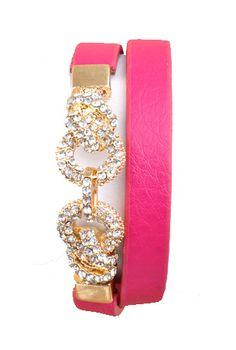 Rhinestone Hot Pink Leather Wrap