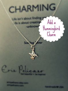 Add a HUMMINGBIRD charm / Charm Necklace / Sterling Silver delicate jewelry