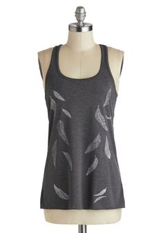 Trail as Old as Time Top in Plumage. From cabin to car trip to cocktails, this printed tank from Red Prairie Press will inspire well-dressed wanderings! #grey #modcloth