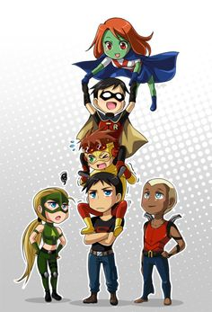 The Young Justice gang. (from top) Miss Martian. Robin. Kid Flash. (from left) Artemis. Superboy. Kaldur.