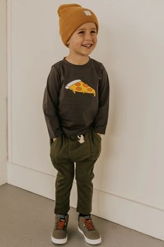 Graphic Tees for Boys - Pizza Long Sleeve Toddler Boy Fashion, Little Boy Fashion, Toddler Boy Outfits, Toddler Boys, Kids Outfits, Kids Fashion, Toddler Boy Style, Little Boy Outfits, Little Boy Style