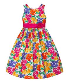Fuchsia & Yellow Floral A-Line Dress - Infant, Toddler & Girls