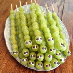 My try at grape caterpillars for my son's kindergarten class snack ...