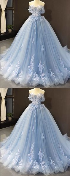 Tulle Ball Gown Dresses Off Shoulder Lace Embroidery Light Blue Tulle Ball Gown Prom Dresses Off Shoulder Lace Embroidery Light Blue Quinceanera Dresses, Robes Quinceanera, Light Blue Dresses, Prom Dresses Blue, Quincenera Dresses Blue, Sweet 16 Dresses Blue, Baby Blue Wedding Dresses, Blue Sparkly Dress, Light Blue Wedding Dress