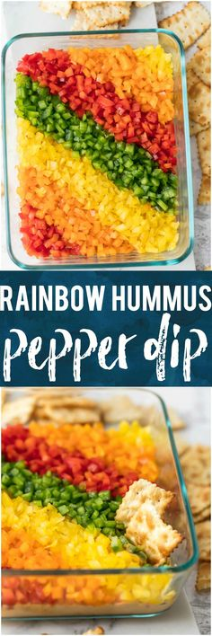 This RAINBOW PEPPER HUMMUS DIP is a healthy, easy, beautiful, and oh so delicious dip! This healthy appetizer is made for game day and loved by both kids and adults. You can feel good about serving this fresh and skinny option at your next party or bbq. #superbowl #healthy #dip #appetizer #vegetables #veggiedip via @beckygallhardin