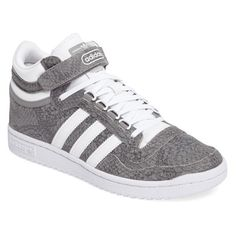 Women's Adidas Concord 2.0 Mid Sneaker featuring polyvore, women's fashion, shoes, sneakers, striped sneakers, stripe shoes, adidas sneakers, adidas trainers and adidas