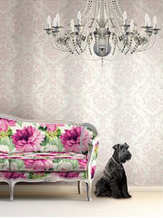 Silver and pink wallpaper - http://www.burkedecor.com/collections/metallic-wallpaper/products/damask-stripe-wallpaper-in-pink-neutrals-and-metallic-design-by-seabrook-wallcoverings