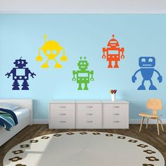 Childrens Space Rockets, Stars and Planets Fabric Wall Stickers Decals - Removable and Repositionable - Boys Wall Stickers, Childrens Wall Stickers, Wall Decals, Robot Bedroom, Robot Nursery, Bedroom Themes, Bedroom Ideas, Nursery Ideas, Kids Bedroom