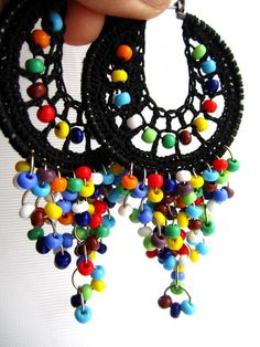 Lolita Crocheted hoops with beads by BohemianHooksJewelry on Etsy