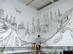 Construções mundialmente famosas, desenhadas nas paredes de um apartamento em Nova York.