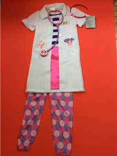 New Disney Doc Mcstuffins Check Up Costume Dress Up  complete outfit  Age 7/8 ys