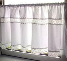 Scheibengardine weiß Spitze 100% Baumwolle, 140 x 50 cm, Handarbeit