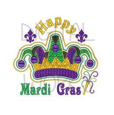Happy Mardi Gras Jester Crown Embroidery by DigitalThreadWorks