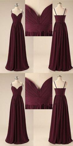 Spaghetti Straps V-neck Burgundy Bridesmaid Dress with Pleats, BD0538 #popular #bridesmaid #bridesmaiddresses#dresses #longbridesmaiddresses #cheapbridesmaiddresses