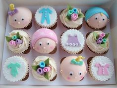Taught by Gaynor at Truly Madly Sweetly Cupcakes Cupcake Cake Designs, Fondant Cupcake Toppers, Cupcake Cookies, Baby Cupcake, Baby Shower Cupcakes, Shower Cakes, Funny Cupcakes, Love Cupcakes, Muffins