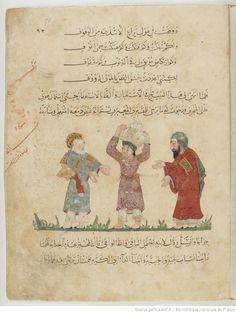Folio 90 Recto: maqama 29. Abu Zayd, his son and al-Harith