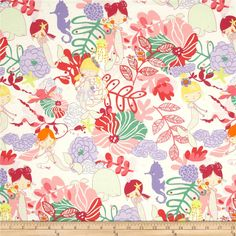 Alexander Henry Monkey's Bizness If I Were A Mermaid  Natural Lavender from @fabricdotcom  Designed by DeLeon Design Group for Alexander Henry, this cotton print is perfect for quilting, apparel and home decor accents. Colors include shades of coral, lavender, yellow, pink, green, raspberry, and natural.