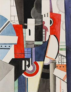 """Esquisse pour """"La Ville"""" (Sketch for """"The City""""): 1919 by Fernand Leger - Viewed as part of the Exhibit: The Great War: Art on the Front Line (Toledo Museum of Art, Toledo, OH) (August, 2014)"""