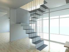 escalier moderne, escalier suspendu en blanc, lignes épurées Plus