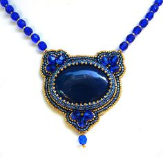 Arabian Nights royal blue and gold bead embroidered ooak necklace by YANKAcreations on Etsy