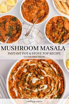 recipe to make better than restaurant mushroom masala, cooked in a creamy tomato based sauce and aromatic spices. Healthy Curry Recipe, Healthy Indian Recipes, Best Vegetarian Recipes, Healthy Food, Instant Pot Curry Recipe, Instant Pot Dinner Recipes, Aloo Recipes, Curry Recipes, Stove Top Recipes