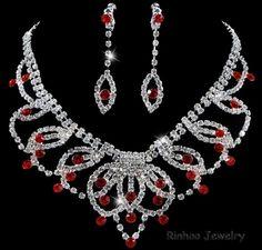 1SET Teardrop Red Crystal Rhinestone Necklace Earrings Set Wedding TOP Sale Gift #Rinhoo #CasualPartyWedding