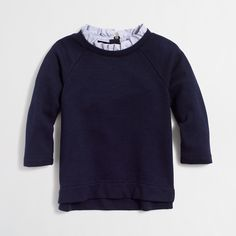 Factory girls' ruffled-collar sweatshirt : Shirts, T-Shirts & Tops | J.Crew Factory