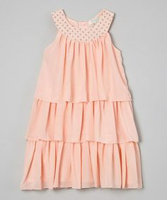Peach Tiered Yoke Dress - Infant, Toddler & Girls